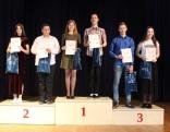 Uzvarātuoji 9.-12. klašu grupā - 1. vītā Sintija Sadovska,  Artūrs Šroms, Jānis Kalvāns, Šarlote Lorija Nagle, 3. vītā Iļja Gruznovs, Antra Umbraško.