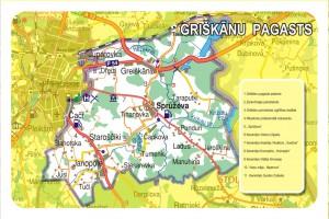 Griškānu pagasta karte