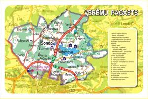 Vērēmu pagasta karte