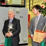 Uzņēmumu sveic Rēzeknes novada pašvaldības izpilddirektors Jānis Troška (no kreisās) un Ozolaines pagasta pārvaldes vadītājs Edgars Blinovs