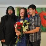 (No kreisās) Aivars, Vēsma un Jumis Ušpeļi. Foto: Maija Upeniece