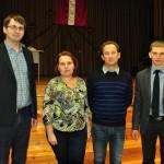 Izvirzītie pretendenti. No kreisās: Vjačeslavs Dubovskis, Jeļena Ivanova, Ivars Arbidāns un Jānis Aleksāns
