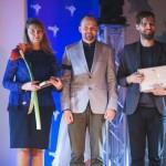 """Nominācija •Straujākais lēciens jaunai jaunatnes organizācijai, biedrībai vai nodibinājumam, kas veic darbu ar jaunatni (divi darba gadi). No labās -- biedrības """"LOBS"""" pārstāvis Jānis Jurčenko"""